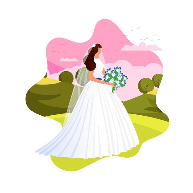 Élégante mariée se prépare pour la cérémonie de mariage. Vecteur Premium
