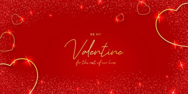 Élégante Saint-valentin Avec Des Coeurs Dorés Vecteur gratuit