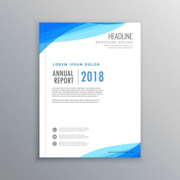Élégante vague bleue brochure d'affaires modèle Vecteur gratuit