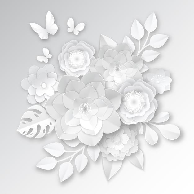 Élégantes Fleurs Coupées De Papier Blanc Vecteur gratuit
