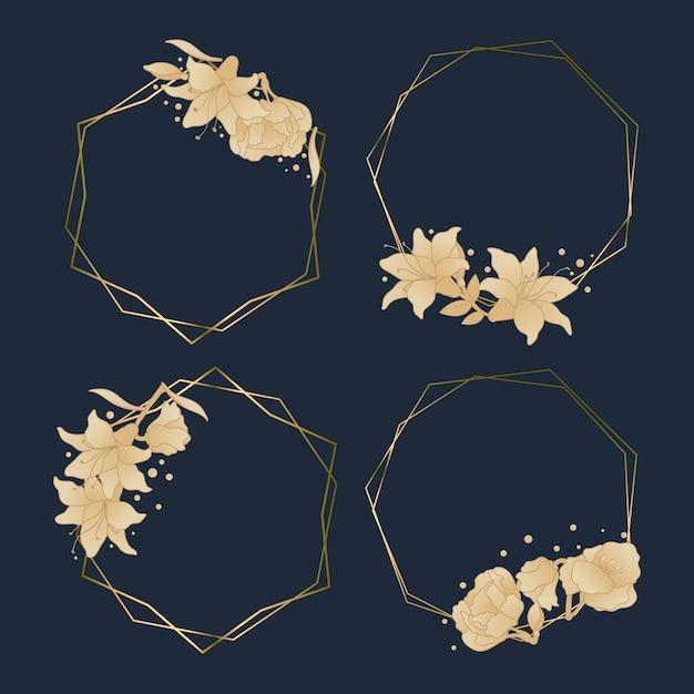 Élégants Cadres Polygonaux Dorés Avec Des Fleurs Vecteur gratuit