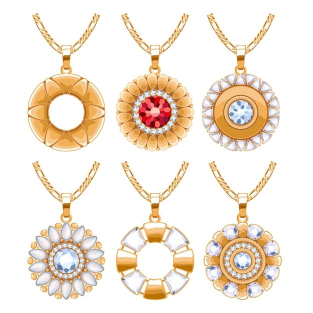 Elégants Rubis Et Diamants Bijoux Pendentifs Ronds Pour Collier Ou Bracelet. Bon Pour Le Cadeau De Bijoux. Vecteur Premium