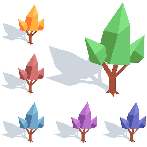 Élément De L'arbre Isométrique Coloré élément De Jeu D'icônes Vecteur Premium