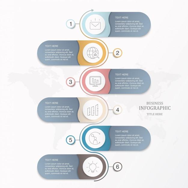 Élément de base modèle six cercles d'élément pour le concept d'entreprise présente. Vecteur Premium