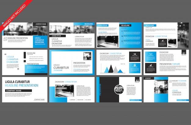 Élément bleu et blanc pour infographie de diapositives sur fond. Vecteur Premium