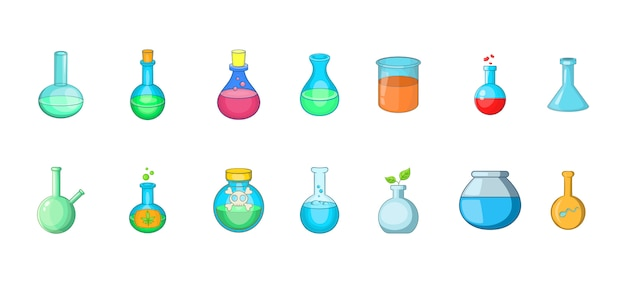 Élément de bouteille chimique. jeu de dessin animé d'éléments vectoriels de bouteille chimique Vecteur Premium