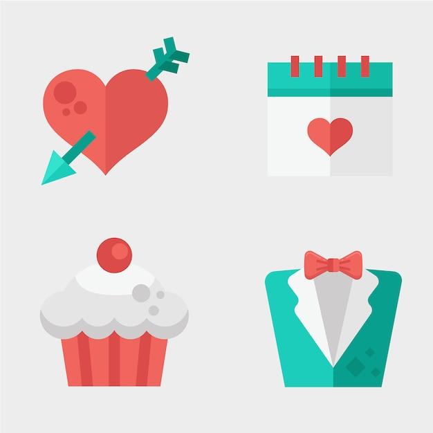 Élément de carte de mariage Vecteur Premium