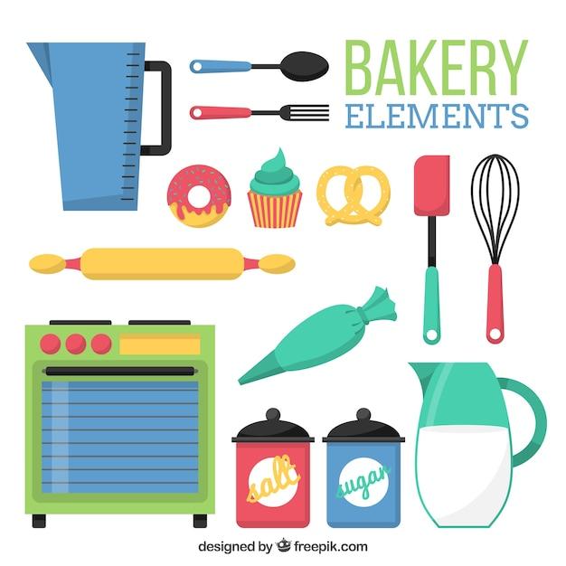 Élément collection de boulangerie design plat Vecteur gratuit