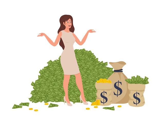 Élément Comique De Dessin Animé Plat Wonan Riche Avec Une Femme Riche Se Baignant Dans Un Millionnaire Vecteur Premium