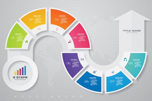 Élément de conception infographie flèche graphique. Vecteur Premium