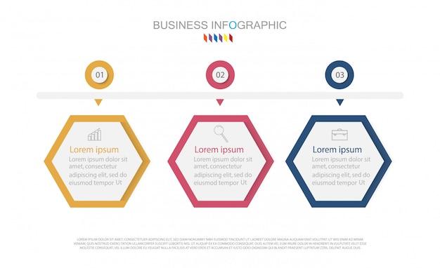 Élément de conception infographique de la timeline et options de numérotation. concept d'entreprise en 3 étapes Vecteur Premium