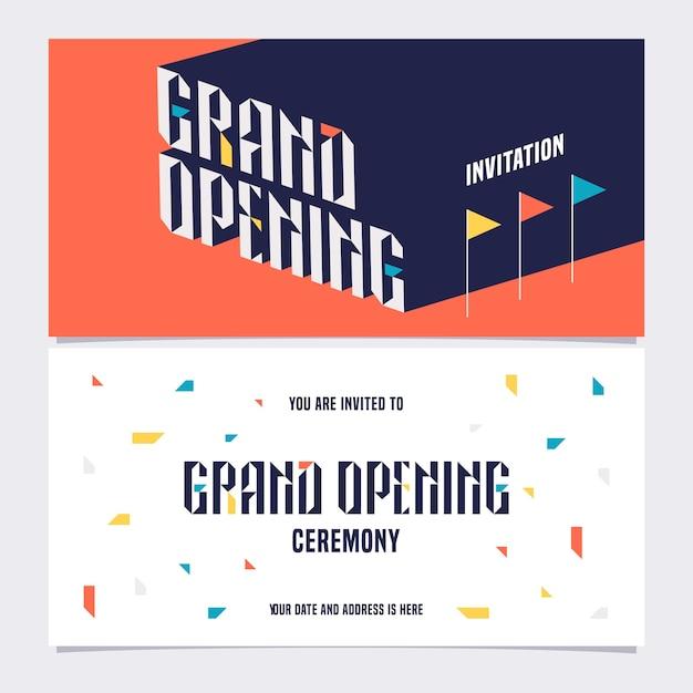 Élément De Conception De Modèle Pour Carte D'invitation à La Grande Cérémonie D'ouverture. Ouverture Du Magasin Bientôt Inviter Vecteur Premium