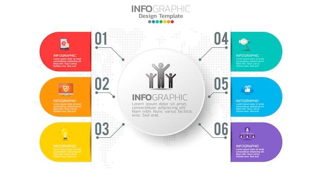 Élément De Couleur étape Infographie Avec Diagramme Circulaire, Graphique D'entreprise. Vecteur Premium