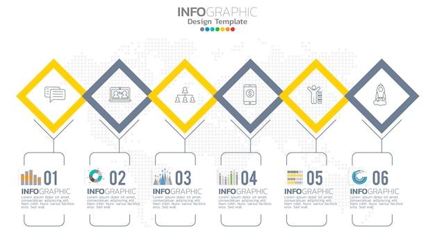 Élément De Couleur Jaune étape Infographie Avec Diagramme Graphique De Cercle, Conception De Graphique D'entreprise. Vecteur Premium