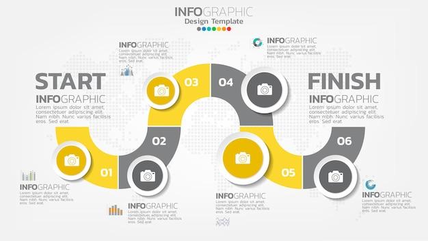 Élément De Couleur Jaune étape Infographie Avec Flèche, Diagramme Graphique, Concept De Marketing En Ligne Entreprise. Vecteur Premium
