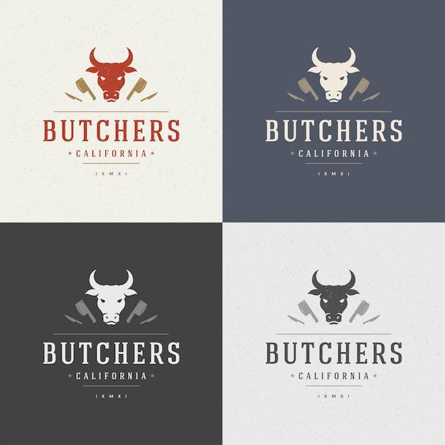Élément de design de boucherie dans un style vintage pour logotype Vecteur Premium