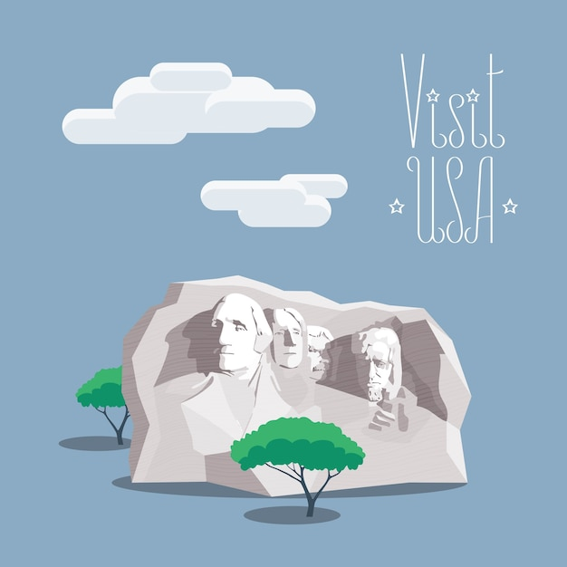 Élément De Design Avec Le Célèbre Monument De Portrait De Présidents Américains Dans L'affiche De La Montagne Rushmore Vecteur Premium