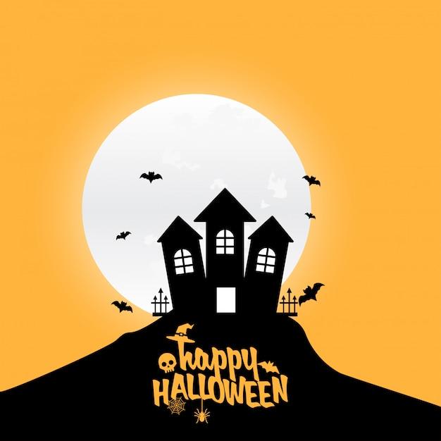 Élément de design happy halloween avec typographie Vecteur gratuit