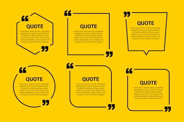 Élément de design moderne cite bloc tendance. modèle de citation et de commentaire de texte créatif Vecteur Premium