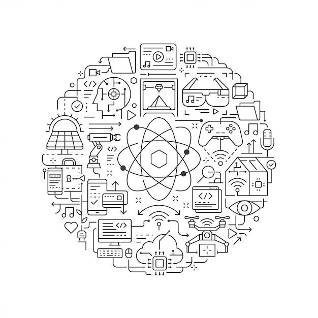 Élément de design rond avec icône de la technologie Vecteur Premium