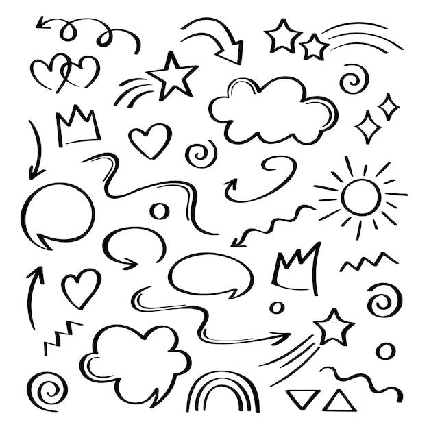 Élément Dessiné à La Main Super Set Différent. Collection De Flèches, Couronnes, Cercles, Griffonnages Sur Fond Blanc. Graphique. Vecteur Premium