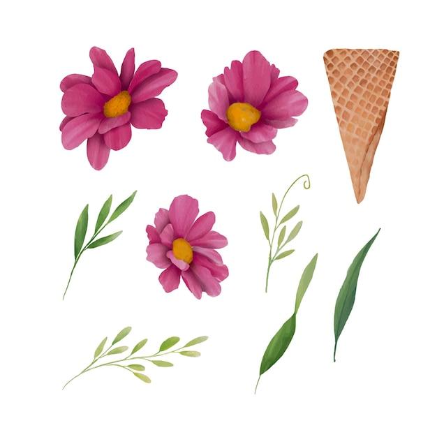Élément De Fleur Aquarelle Et Cornet De Glace à La Gaufrette Vecteur Premium