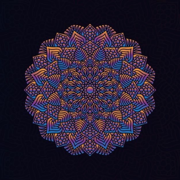 Élément Géométrique Circulaire Dessiné à La Main De Vecteur De Mandala Coloré Pour Le Henné, Mehndi, Tatouage, Décoration, Textile, Motif, Fond D'invitation Vecteur Premium