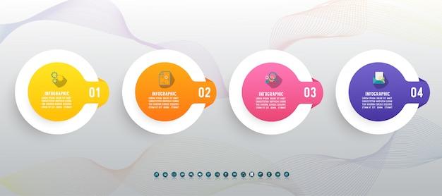 Élément De Graphique Infographie Quatre Options De Conception. Vecteur Premium