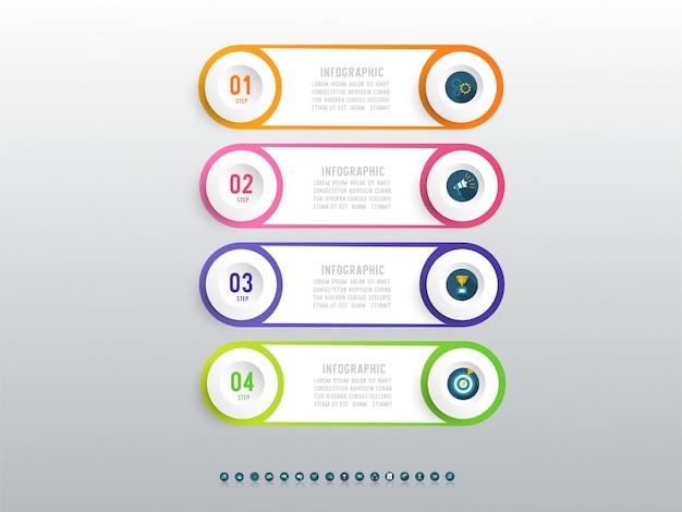 Élément De Graphique Infographique Business Quatre Options De Conception. Vecteur Premium