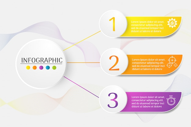 Élément de graphique infographique de modèle business design 3 étapes. Vecteur Premium