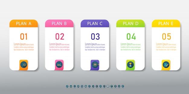 Élément De Graphique Infographique Options De Modèle Business Design 5 Vecteur Premium