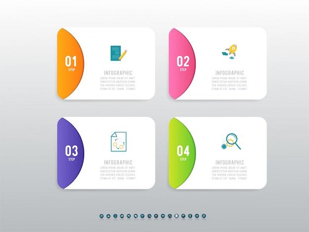 Élément De Graphique Infographique En Quatre étapes De Modèle De Conception D'entreprise. Vecteur Premium