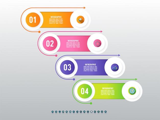 Élément De Graphique Infographique En Quatre étapes. Vecteur Premium