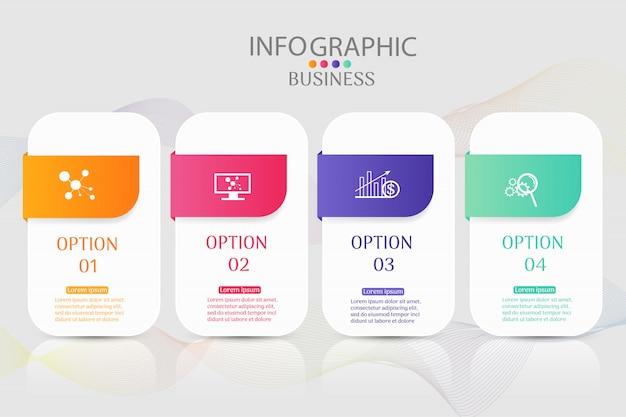 Élément graphique options de conception business modèle 4 options. Vecteur Premium