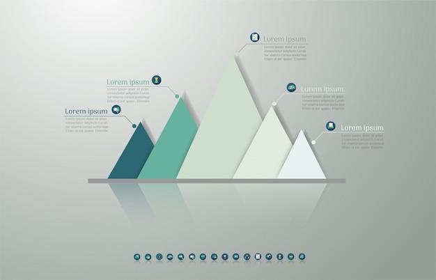 Élément graphique d'options de conception business modèle 5 options. Vecteur Premium