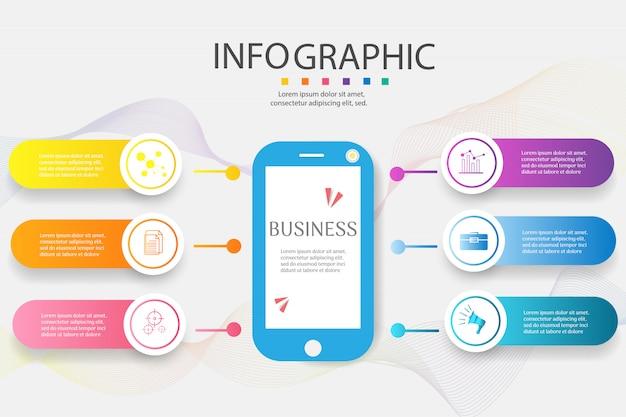 Élément graphique d'options de conception business modèle 6 options. Vecteur Premium