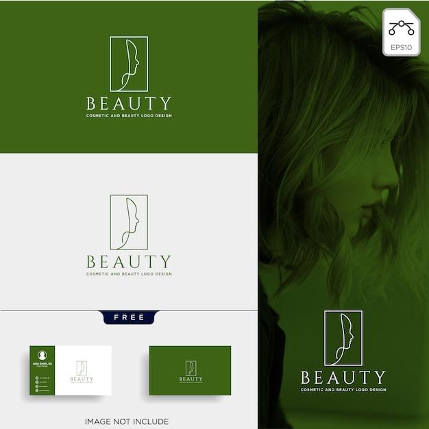 Élément d'icon icône beauté cosmétique ligne art logo vector Vecteur Premium