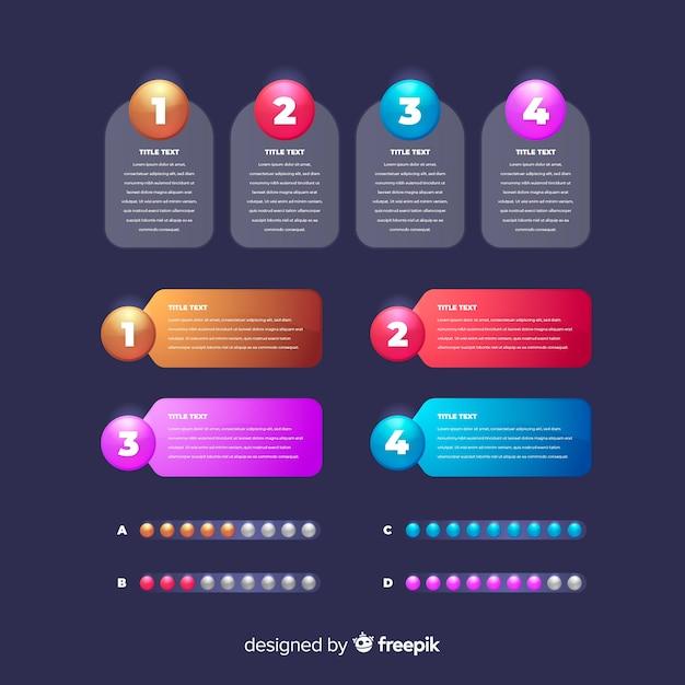 Élément d'infographie brillant réaliste Vecteur gratuit