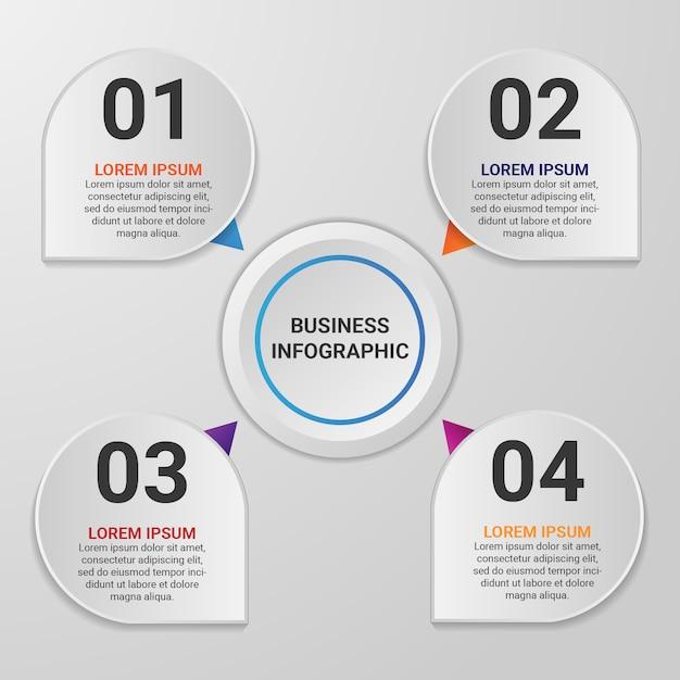 Élément D'infographie De Gradient D'entreprise Avec 4 Options Ou étapes Vecteur Premium