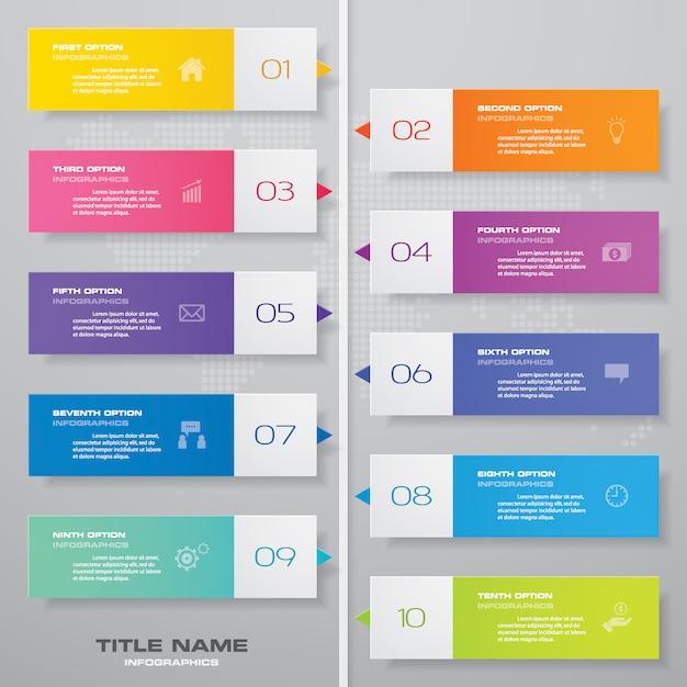 Élément d'infographie graphique chronologie. Vecteur Premium