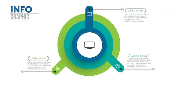 Élément d'infographie avec icônes et 3 options ou étapes Vecteur Premium