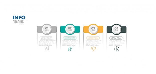 Élément D'infographie Avec Icônes Et 4 Options Ou étapes. Peut être Utilisé Pour Le Processus, La Présentation, Le Diagramme, La Disposition Du Flux De Travail, Le Graphique D'informations, La Conception Web. Vecteur Premium