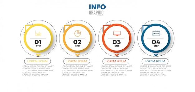 Élément D'infographie Avec Des Icônes Et 4 Options Ou étapes. Peut être Utilisé Pour Un Processus, Une Présentation, Un Diagramme, Une Structure De Flux De Travail, Un Graphique D'informations Vecteur Premium