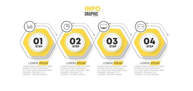 Élément d'infographie avec des icônes et 4 options ou étapes. Vecteur Premium