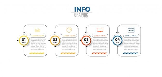 Élément d'infographie avec des icônes et 4 options ou étapes Vecteur Premium
