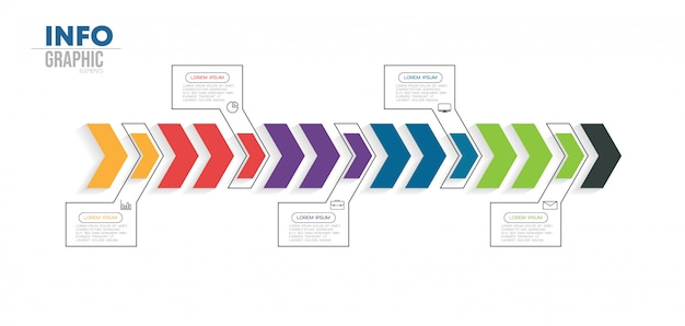 Élément d'infographie avec icônes et 5 options ou étapes Vecteur Premium