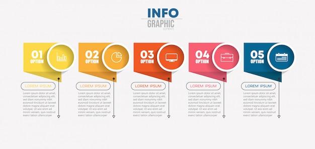 Élément d'infographie avec des icônes et 5 options ou étapes. Vecteur Premium