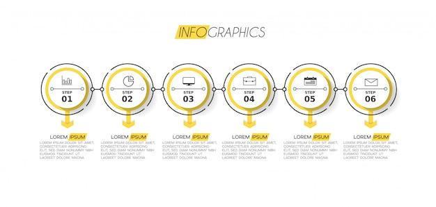 Élément d'infographie avec des icônes et des options ou des étapes. Vecteur Premium