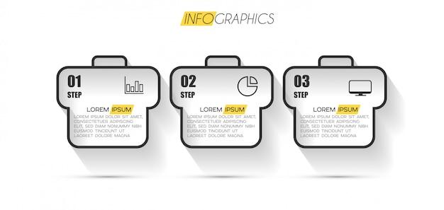 Élément d'infographie avec options ou étapes Vecteur Premium