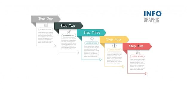 Élément Infographique Avec 5 Options Ou étapes. Peut être Utilisé Pour Un Processus, Une Présentation, Un Diagramme, Une Structure De Flux De Travail, Un Graphique D'informations, Une Conception Web. Vecteur Premium